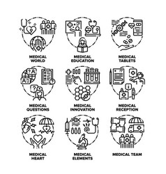 Medical aid set icons black vector