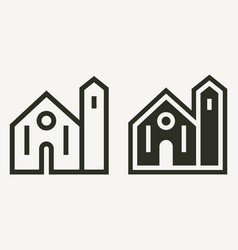 Minimal church building outline and solid icons vector