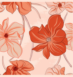 minimalist floral orange flowers pattern art line vector image