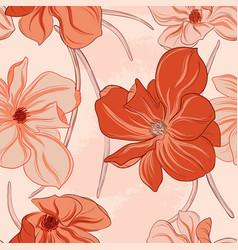 minimalist floral orange flowers pattern art line vector image