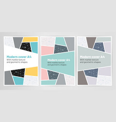 modern cover a4 set with marble texture vector image