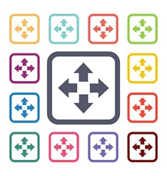 move flat icons set vector image