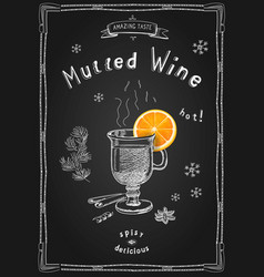 mulled wine in a glass and spices vector image
