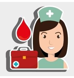 nurse medical suitcase woman vector image