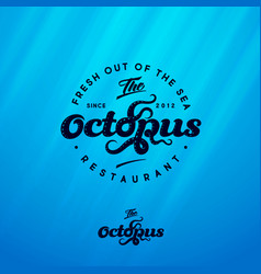 octopus tentacles logo seafood restaurant vector image