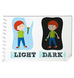 Opposite adjectives with light and dark vector image