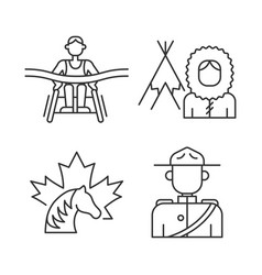 People of canada linear icons set vector