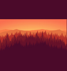 Pine forest at dusk landscape background vector