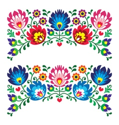 Polish floral folk embroidery patterns for card vector