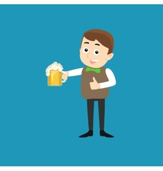 Poster for Oktoberfest - Smiling Man with Beer vector image
