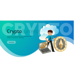 process of ethereum cryptocoins mining flat poster vector image