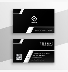 professional black and white business card design vector image
