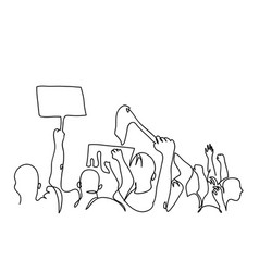 Protesters crowd one line drawing vector