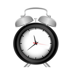 Realistic graphic of black alarm clock vector
