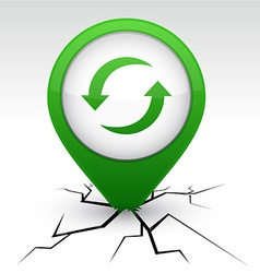 Refresh green icon in crack vector image