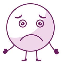 Sad face emoticon kawaii character vector