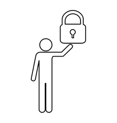 safety lock and man pictogram icon image vector image