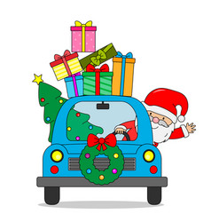 Santa claus in car with lots presents and chris vector