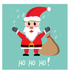 Santa claus waving on mint background vector