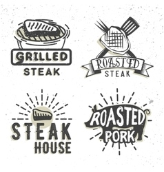 Set of logos design with grilled steak and grilled vector image