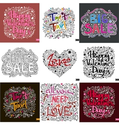 Set of nine different postcard Lettering Love Ink vector image