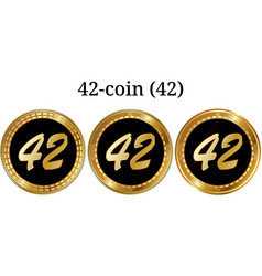 Set of physical golden coin 42-coin 42 vector