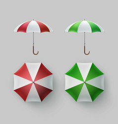 Set of striped opened round umbrella parasol vector