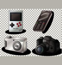 set old technology vintage gadget on vector image