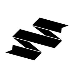 silhouette black ribbon banner icon vector image