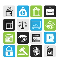 Silhouette finance and bank icons vector