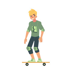 skateboarding young boy with sports protection vector image