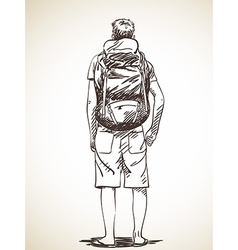 Sketch young man standing with backpack hand drawn vector