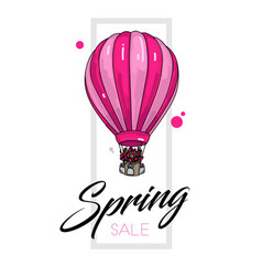 spring sale leaflet template with air balloon vector image