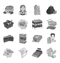 Supermarket set icons in monochrome style Big vector
