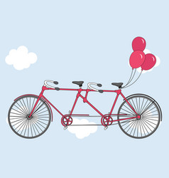 Tandem bicycle with hearts balloons vector