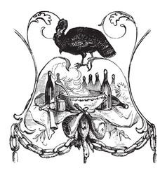 Thanksgiving dinner vintage vector