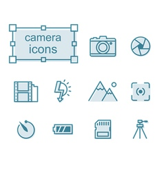 Thin line icons set Camera vector image
