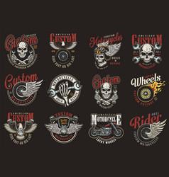 vintage colorful motorcycle repair service logos vector image