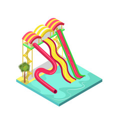 water slides in pool isometric 3d element vector image