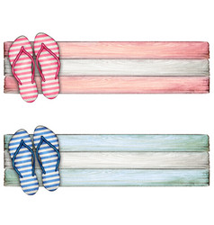 watercolor hand drawn colorful flip flops banner vector image