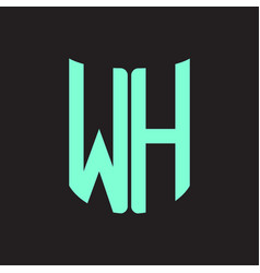 wh logo monogram with ribbon style design template vector image