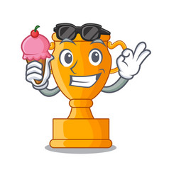 With ice cream cartoon trophy cup with star on vector