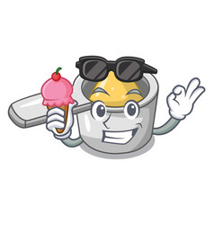 With ice cream character measuring spoon for vector