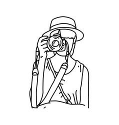 Woman tourist taking photos sketch vector