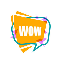 wow speech bubble with expression text vector image