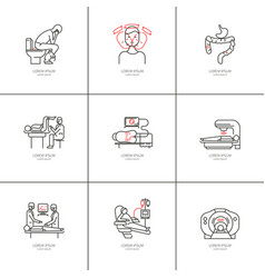 cancer of the bowel set icons vector image vector image