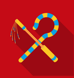 Crook and flail icon in flat style isolated on vector