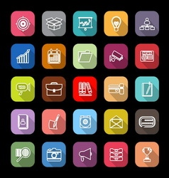 Data and information line icons with long shadow vector image vector image