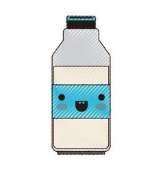 kawaii milk bottle in colored crayon silhouette vector image vector image