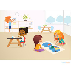 multiracial children in montessori classroom vector image vector image